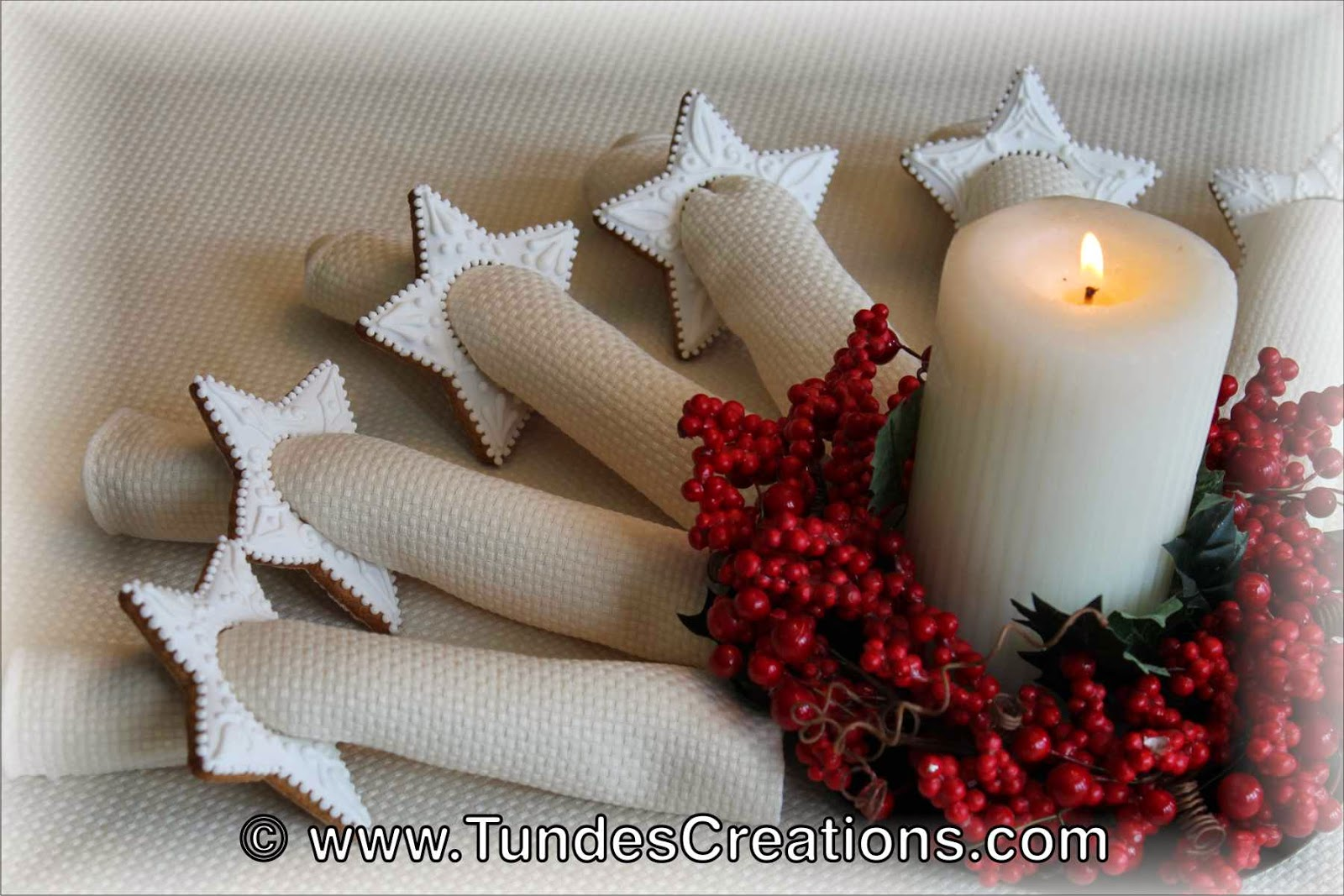 White Gingerbread Christmas Napkin Rings