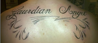Failed tattoo - misspelled tattoo: gaurdian angel