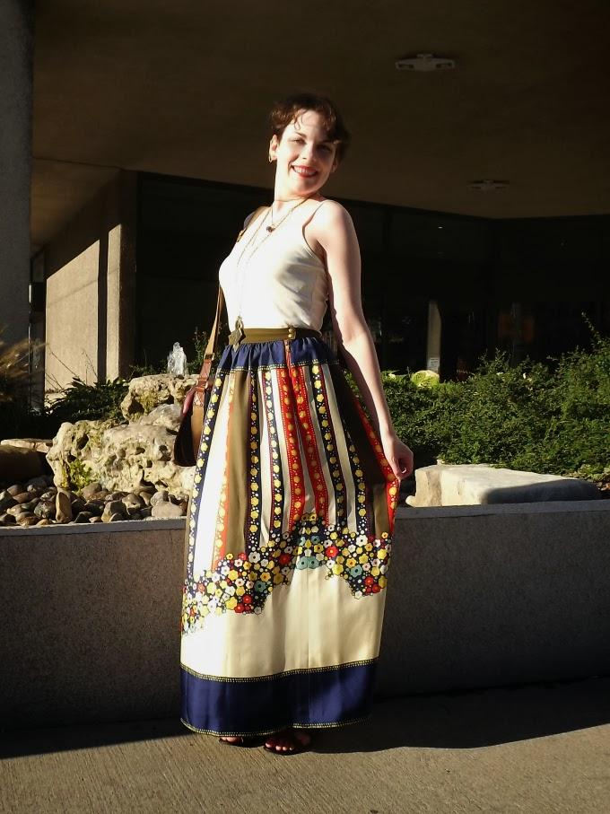 Lauren Moffatt, Lauren Moffatt skirt, Modcloth maxi skirt, tantalizing tansies skirt, long summery skirt, long printed skirt, bohemian skirt, hippie skirt, hippie fashion, silk maxi skirt, trip to tansy-nia skirt, windsor bloggers, Suzanne Amlin, A Coin For the Well, world fashion