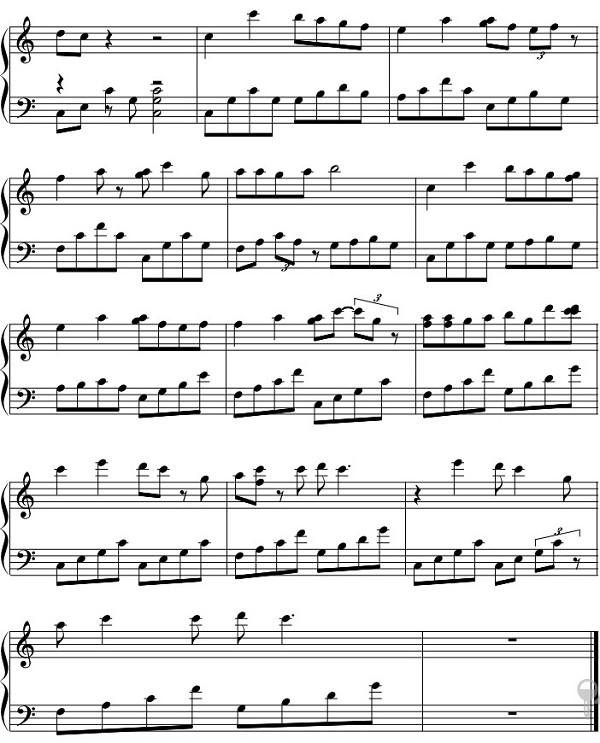 决定爱你钢琴五线谱,是从香港取得的! 图片