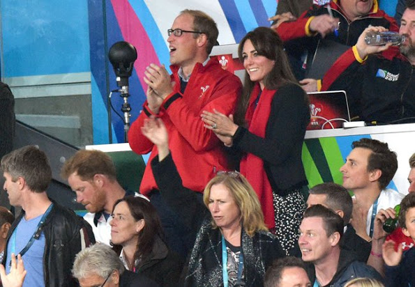 The Duke And Duchess Of Cambridge And Prince Harry At The Rugby World Cup