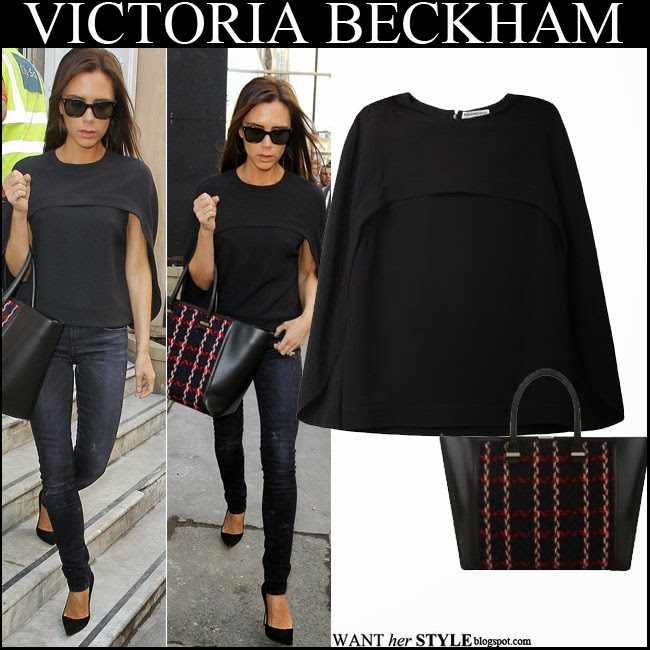 Victoria Beckham in black Balenciaga Cady cape top with skinny jeans and black and red statement tote september 14 want her style