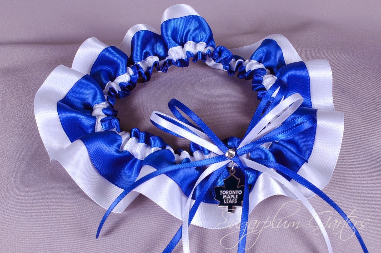 Toronto Maple Leafs Wedding Garter by Sugarplum Garters