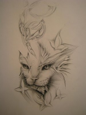 designs cat tattoo for girl