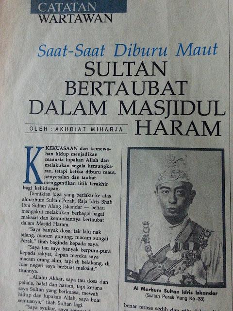 Taubat Al Marhum Sultan Idris Iskandar (Sultan Perak Yang ke-33)