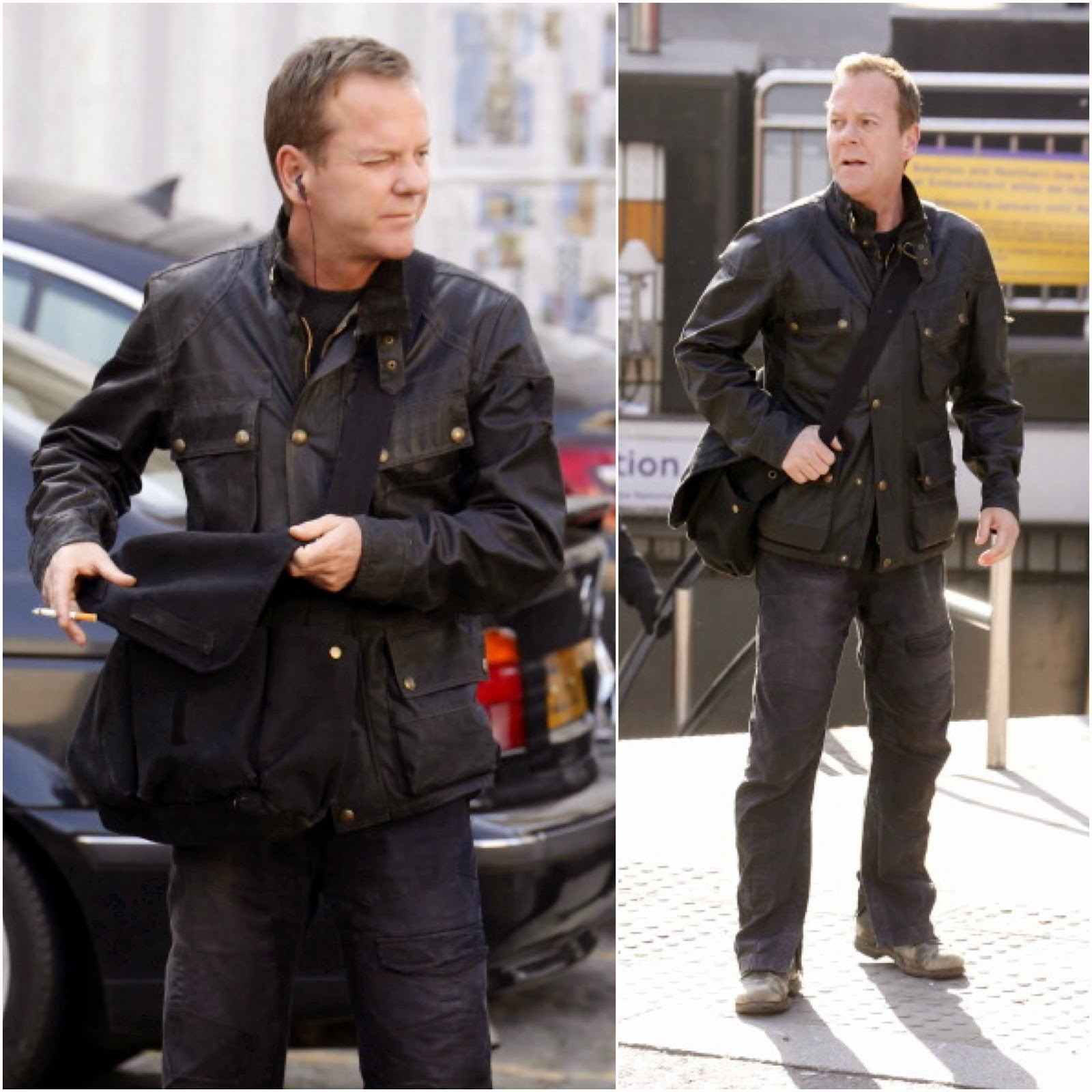 Kiefer Sutherland in Belstaff - Filming Of '24' In London