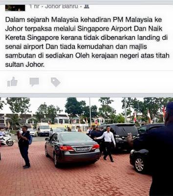 Sultan Johor tidak bagi PM landing Di Johor