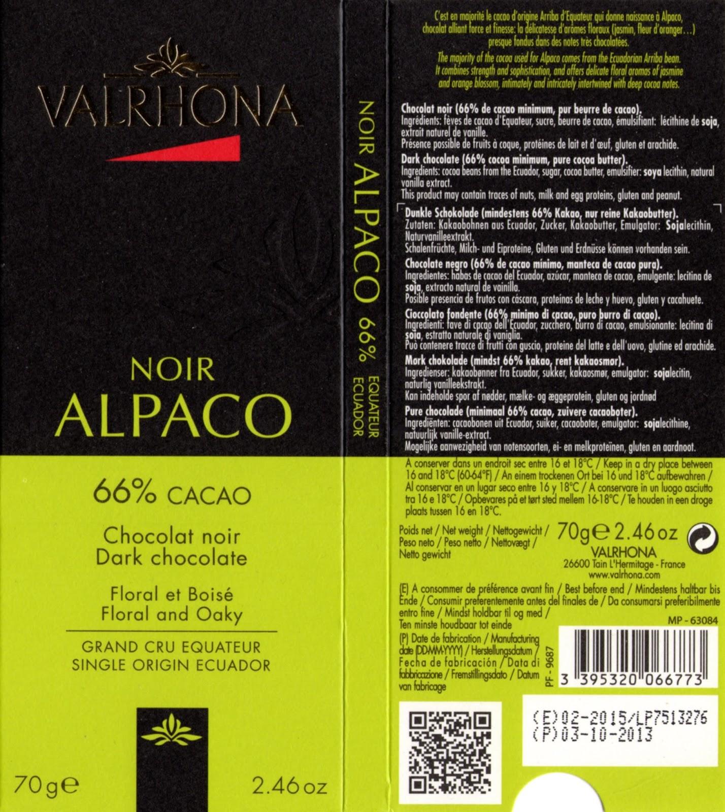 tablette de chocolat noir dégustation valrhona noir alpaco 66