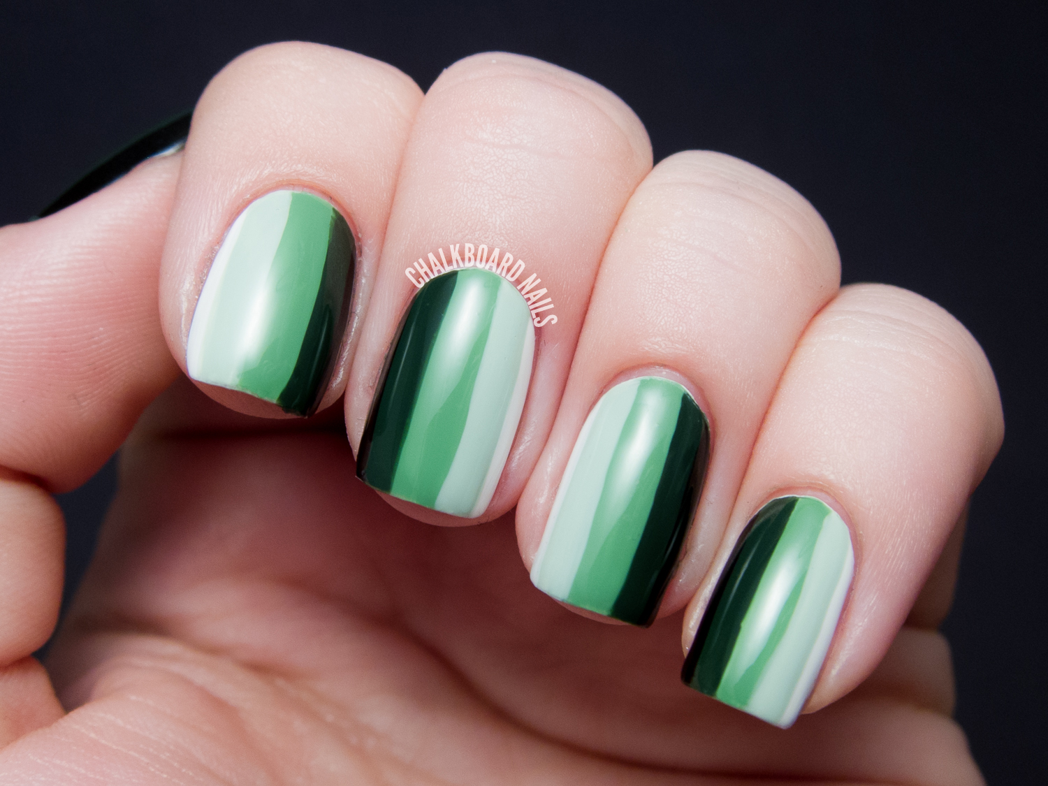 31DC2013 Day 12: Green Ombre Stripes | Chalkboard Nails | Nail Art Blog