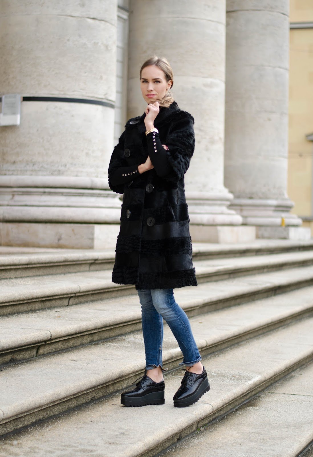 kristjaana mere black fur coat blue jeans platform shoes winter fashion