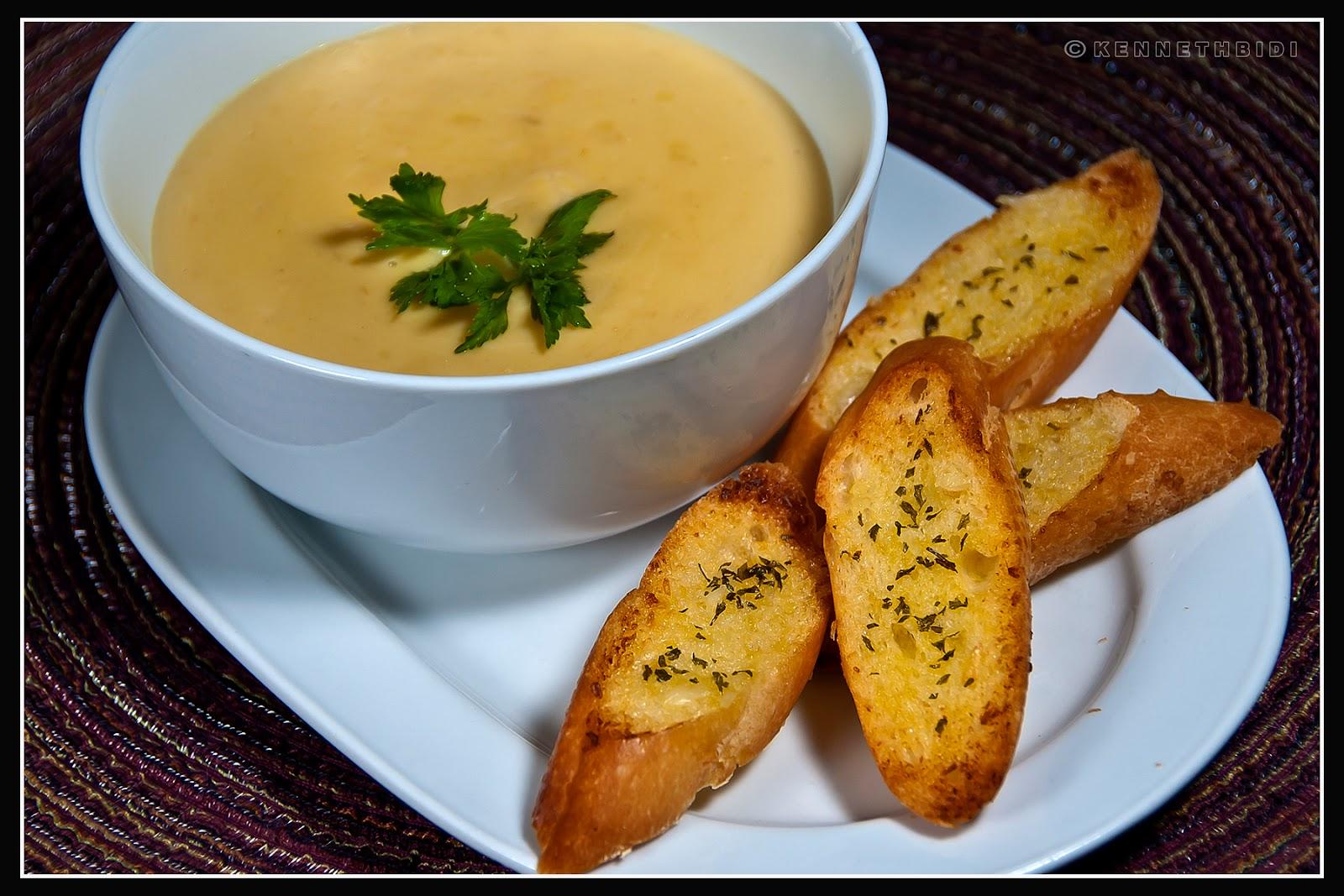 Cream of Chicken Mushroom Soup with Garlic Bread