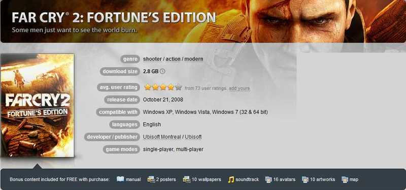 Far Cry 2 Fortune's Edition (GOG) jumbofiles download  - ALL GAMES