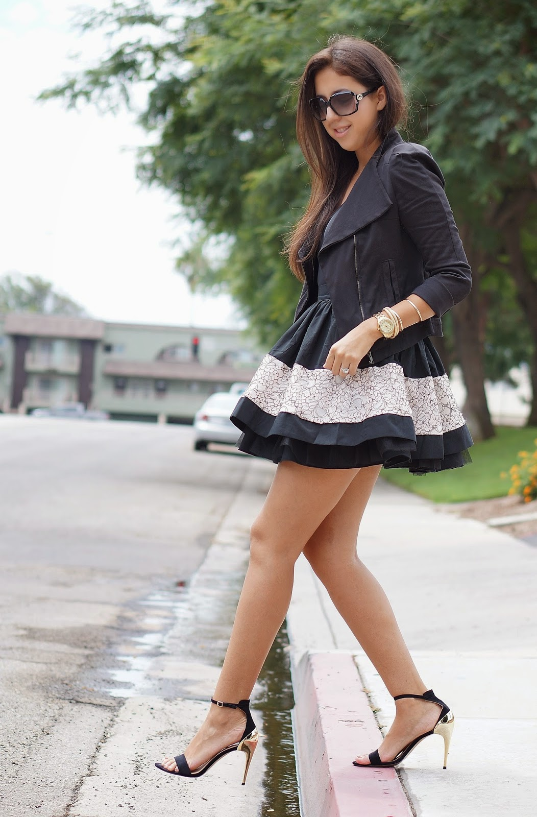 Windsor Skater Skirt, Zara heels, Gucci Sunglasses