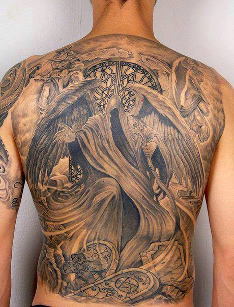 Death angle tattoo on full back