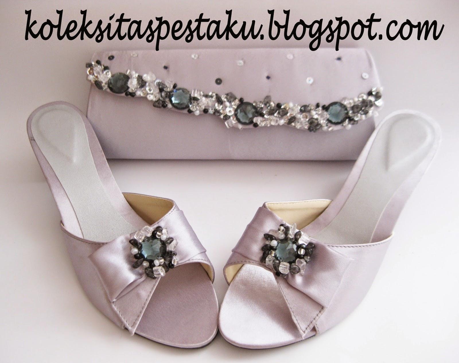 Tas Pesta Sepaket Dengan Sepatu Pesta Warna Silver Elegant