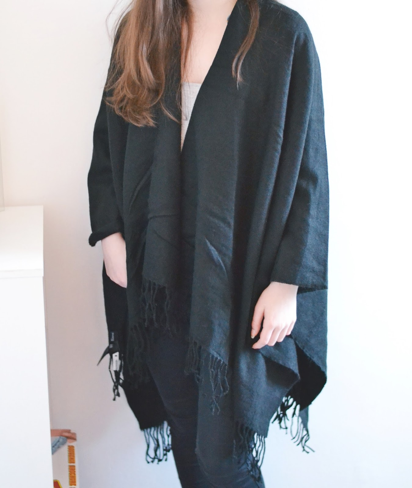 h&m black blanket cape