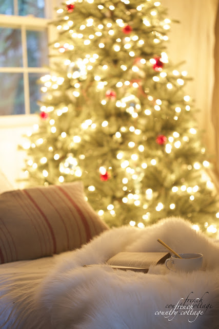Christmas bedroom with tree