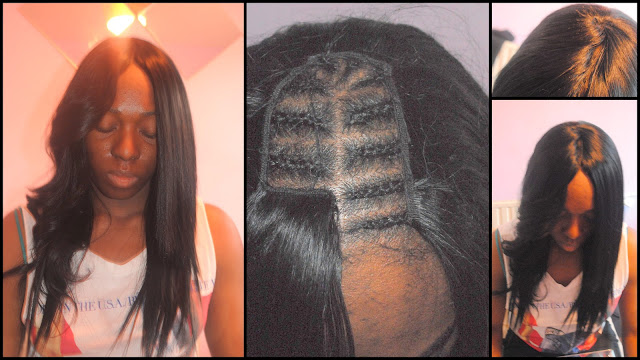 First picture to your left i curled the left side if the weave. Middle ...