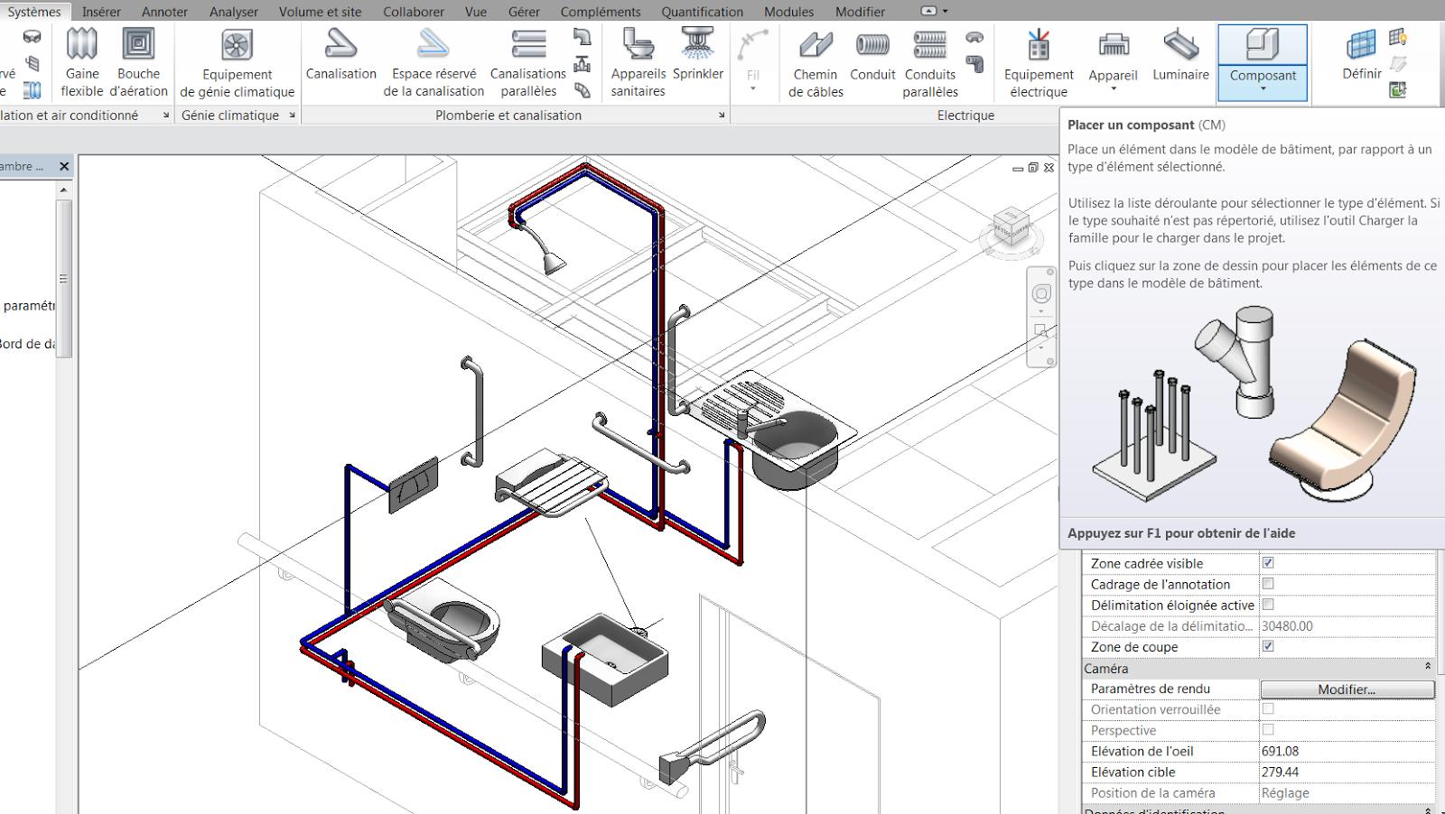 Systèmes composant placer un composant charger la famille mep plomberie equipement connecteurs raccord