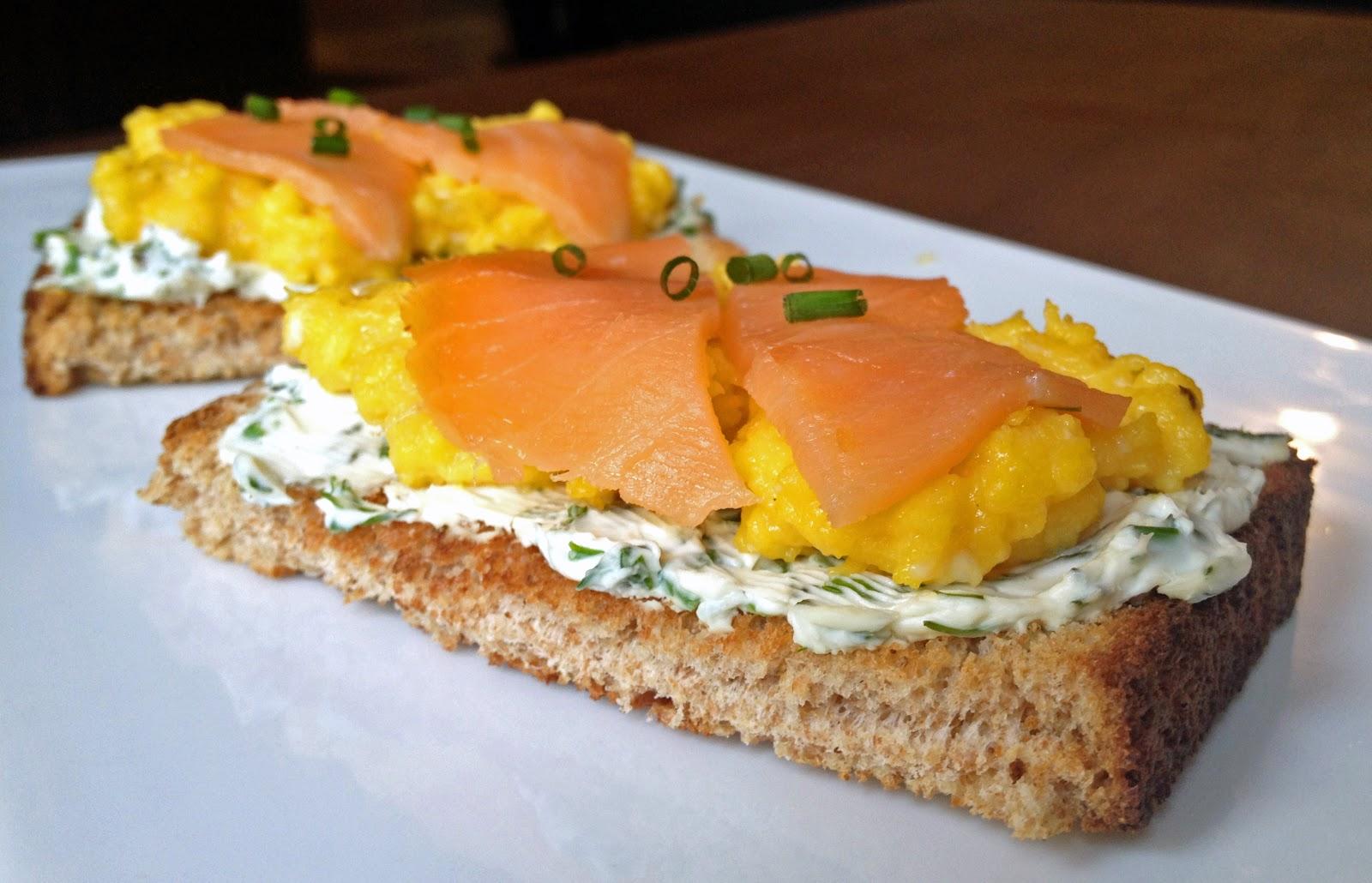 lish: Scrambled Egg Tartine with Smoked Salmon & Herb Cream Cheese