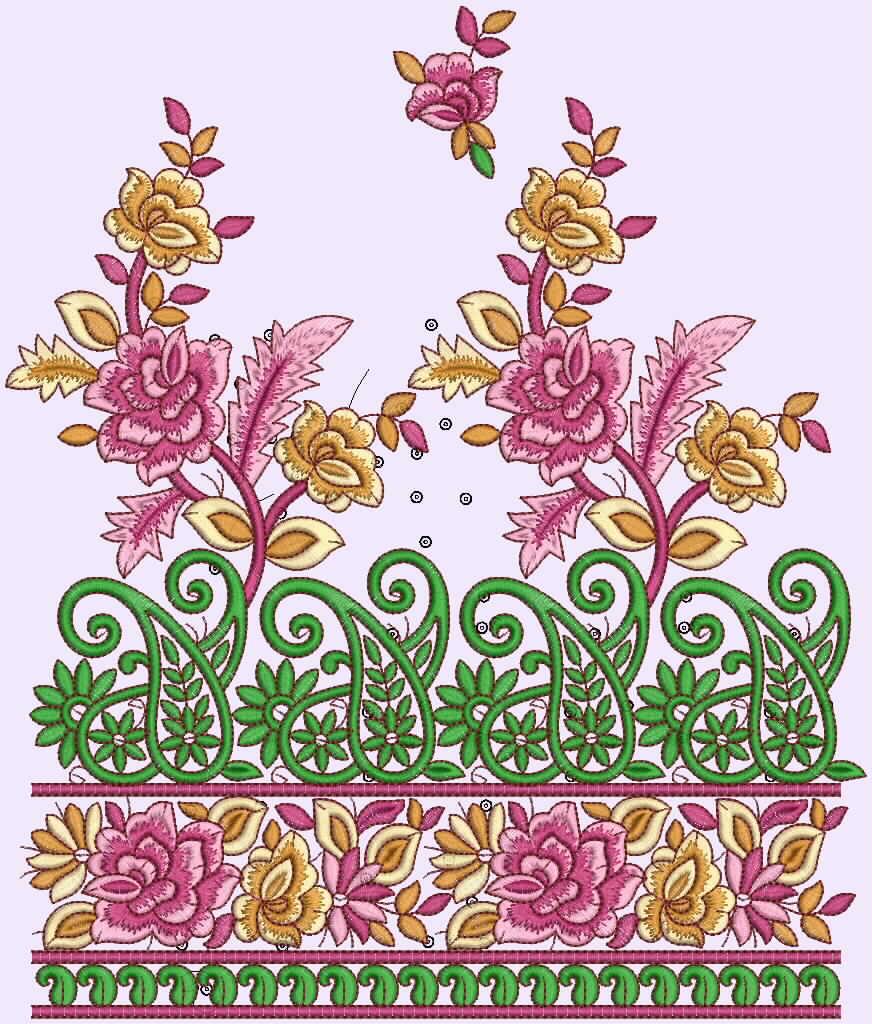 Patch Border Embroidery Designer Sarees  Embdesigntube