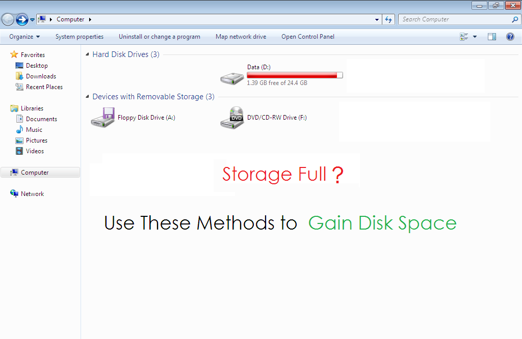 Storage Full ? Use These Methods to Gain Disk Space