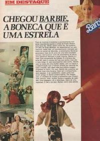 Anúncio de lançamento das vendas da Boneca Barbie no Brasil, diretamente de 1982.