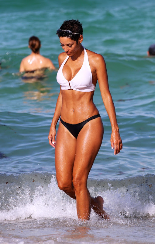 Nicole Murphy wearing bikini at Miami beach