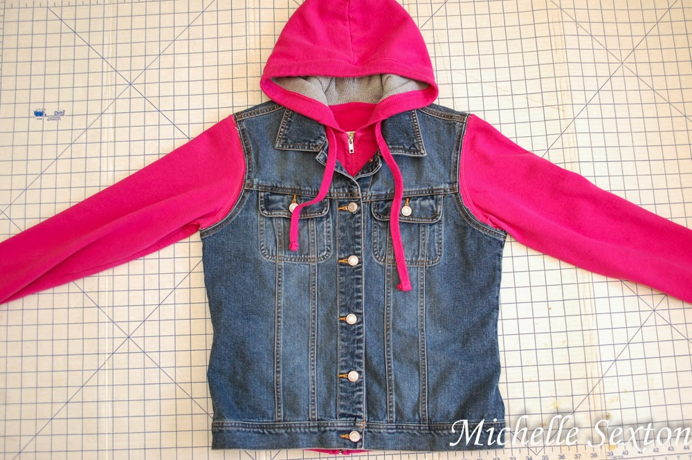 Hooded Denim Jacket DIY @ SoHeresMyLife.com click through and learn how easy it is to make this