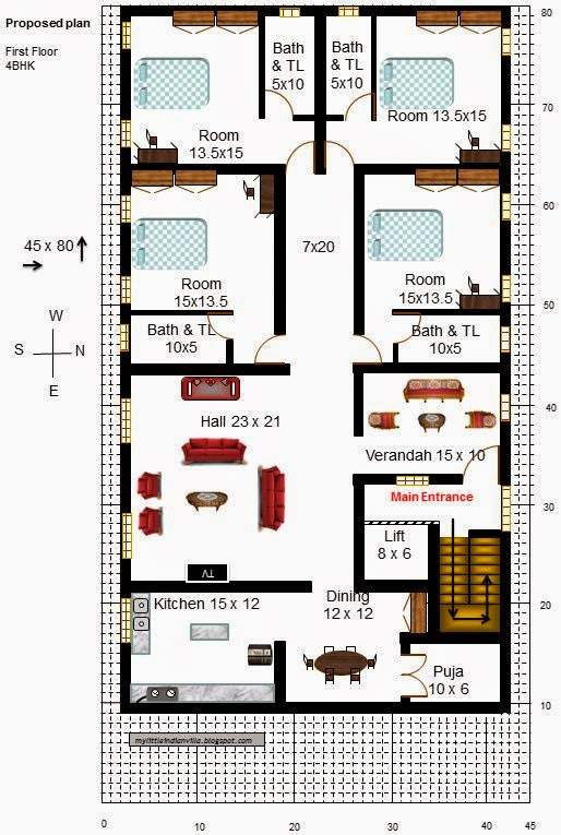 My little indian villa 18 r11 4bhk in 45x80 east facing for North indian house plans with photos
