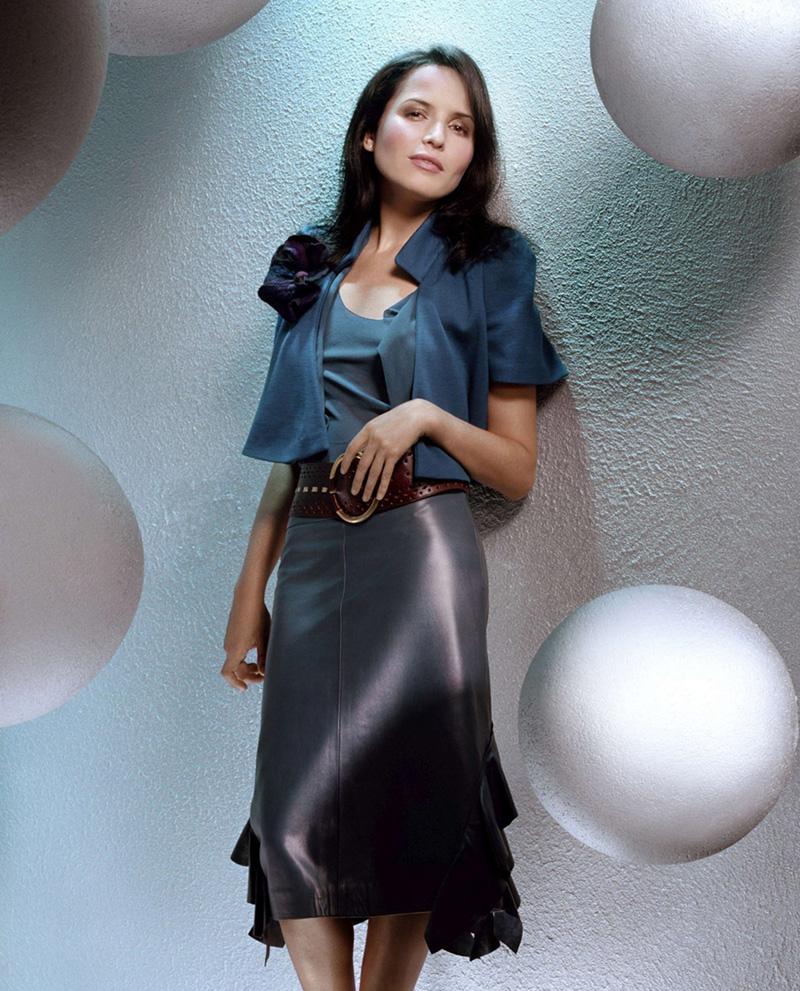 Celebrities in Leather Mini Skirt