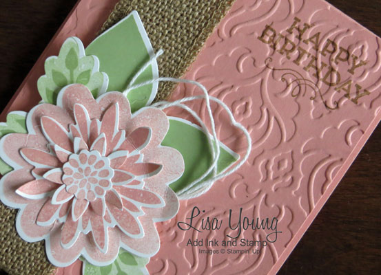 Stampin' Up! Flower Patch stamp set with framelits. Handmade birthday card by Lisa Young,