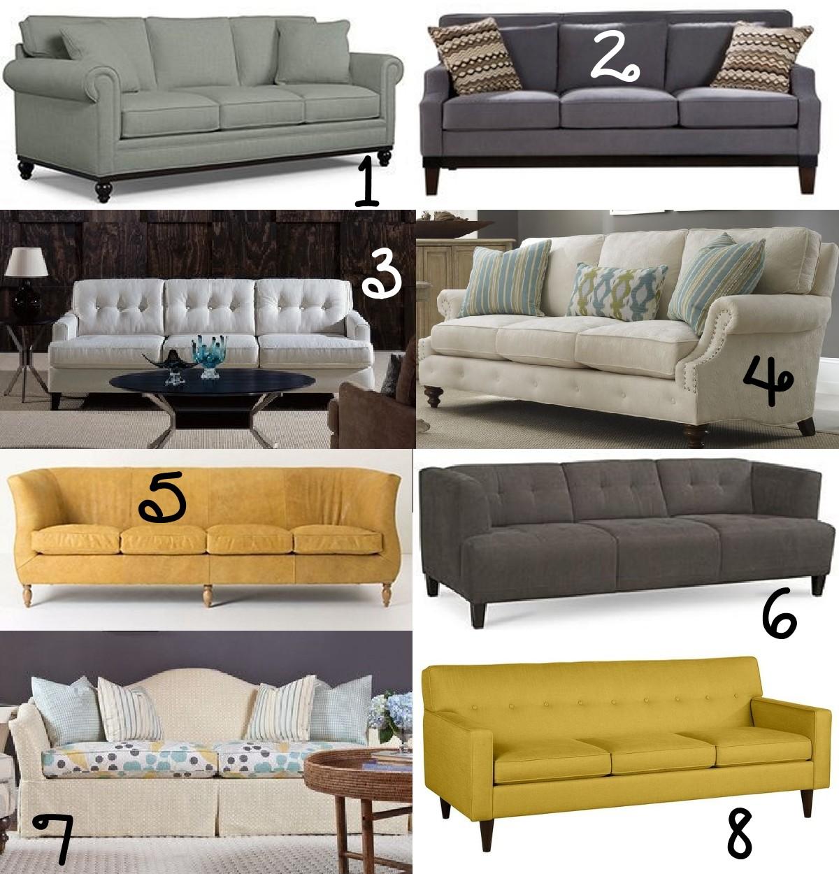 Martha Stewart Club Sofa 2. Jai Ash Sofa 3. Barbara Sofa 4. Emma Sofa 5.  Harvey Sofa