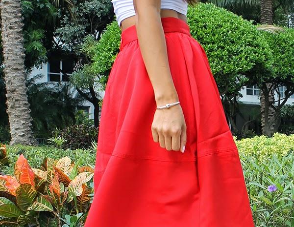 missguided, white crop top, miami fashion blogger, red midi skirt, express skirt, aldo metallic lace up heels, pandora bracelet, fall fashion tips, winter fashion, miami blogger