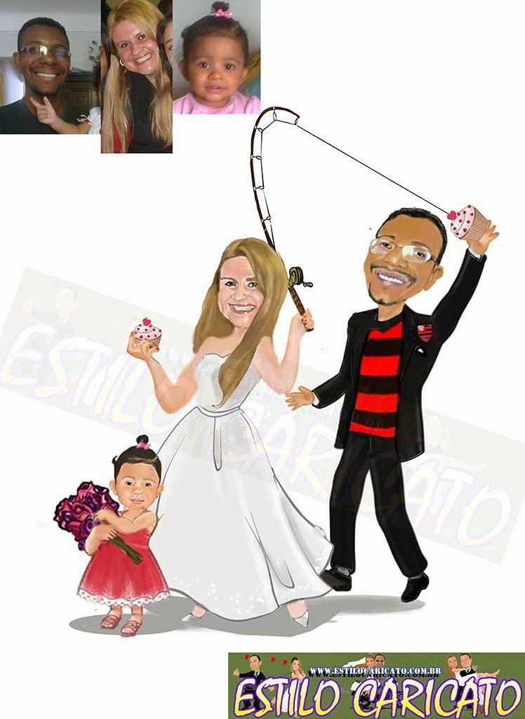 caricatura colorida dos noivos