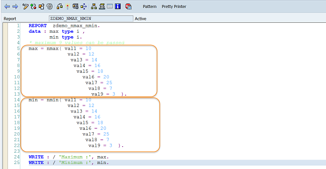Maximum and Minimum Function in ABAP