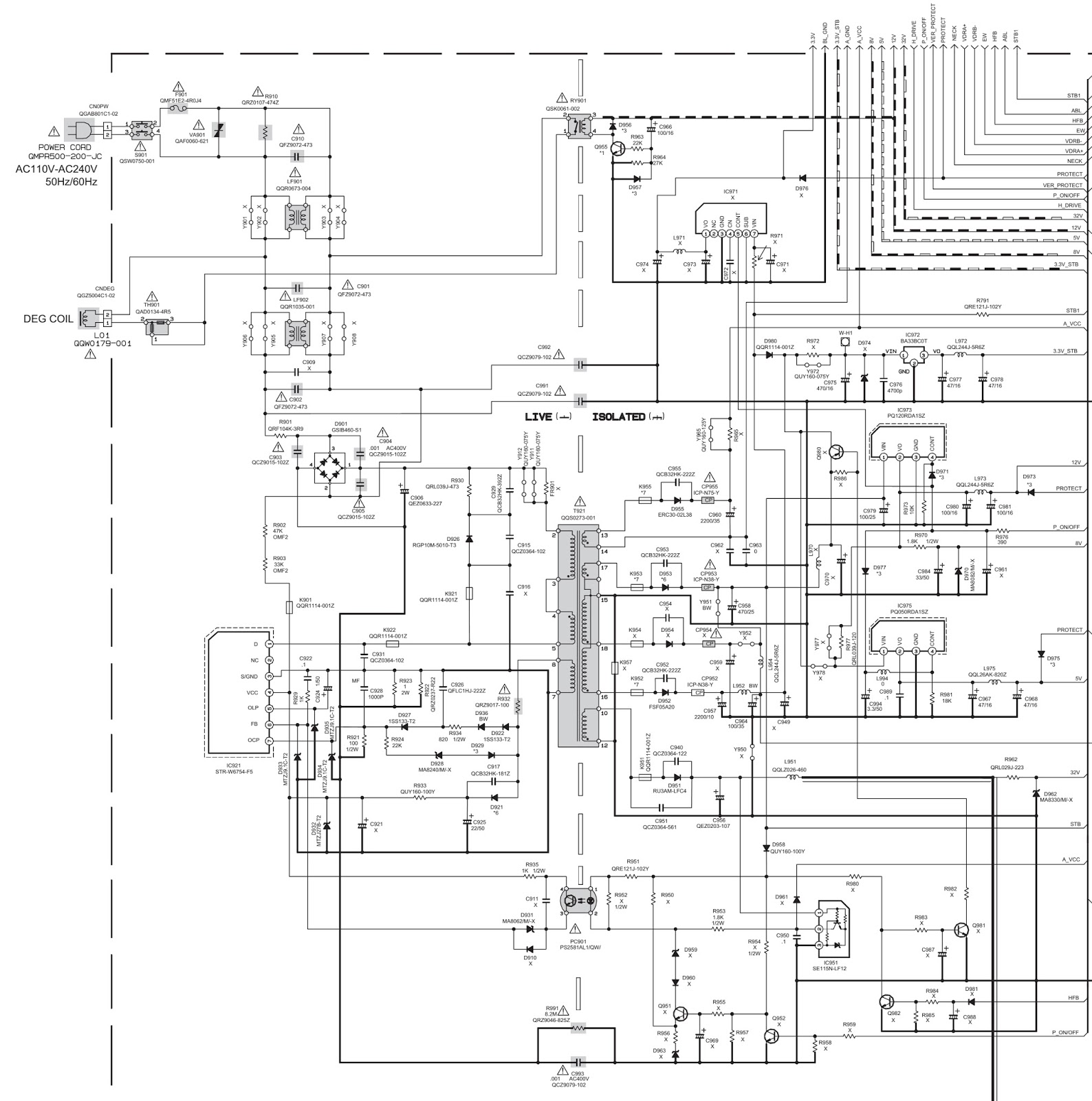 jvc av-17v214 - tv - power supply  smps  - schematic  circuit diagram