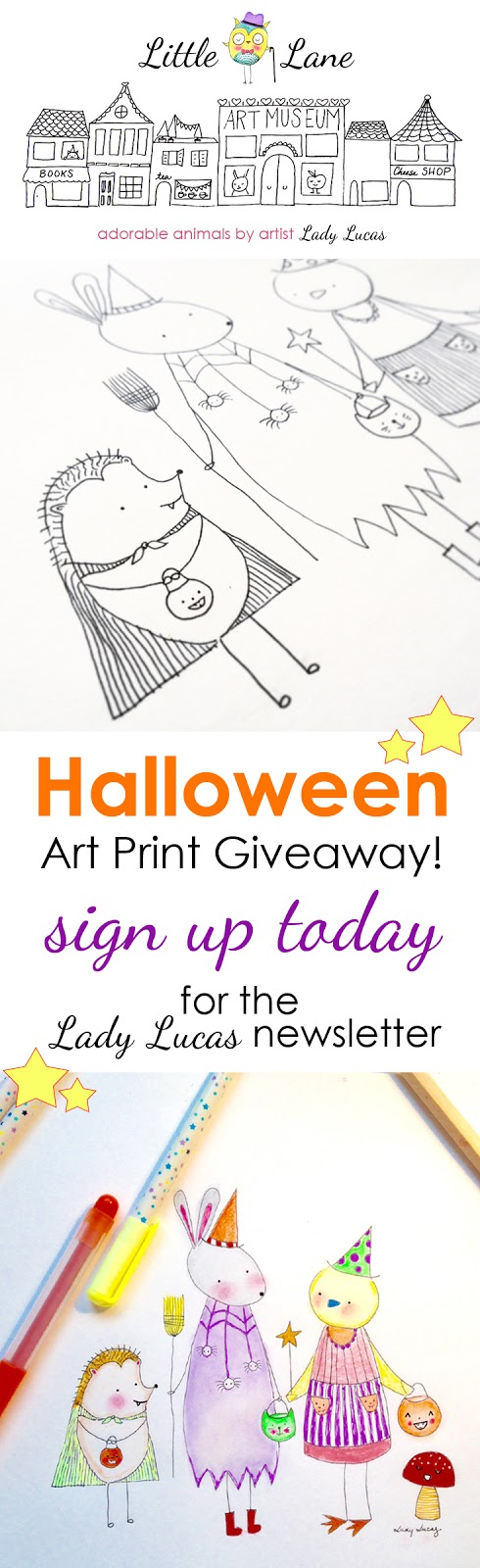 Free Halloween Little Owl Lane Print Giveaway