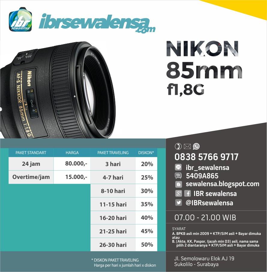Nikon AF-S 85mm f1.8 G Surabaya Harga Sewa Rental Lensa Kamera
