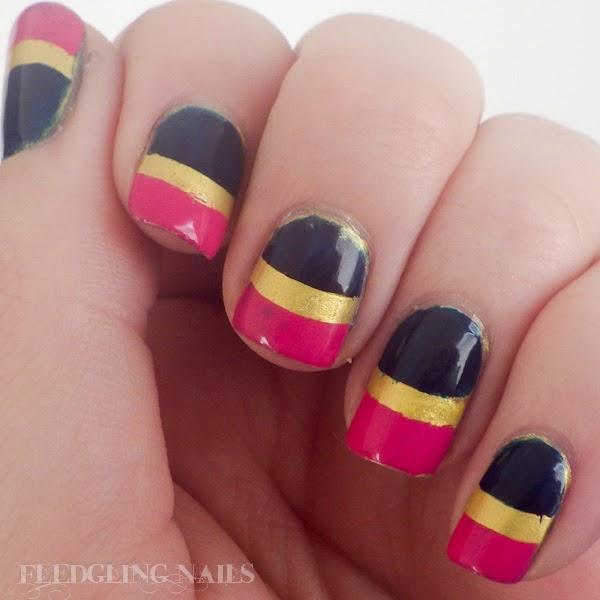 Fledgling Nails Nail Art Tri Polish Tuesday Bold Stripes Pink