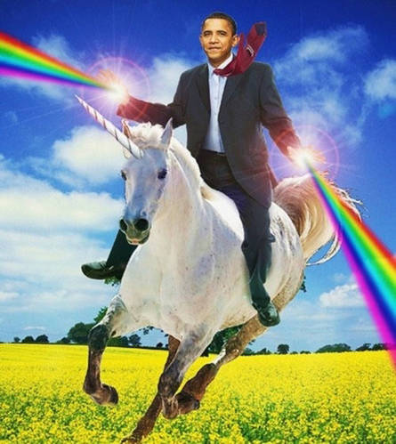 Obama Riding A Unicorn