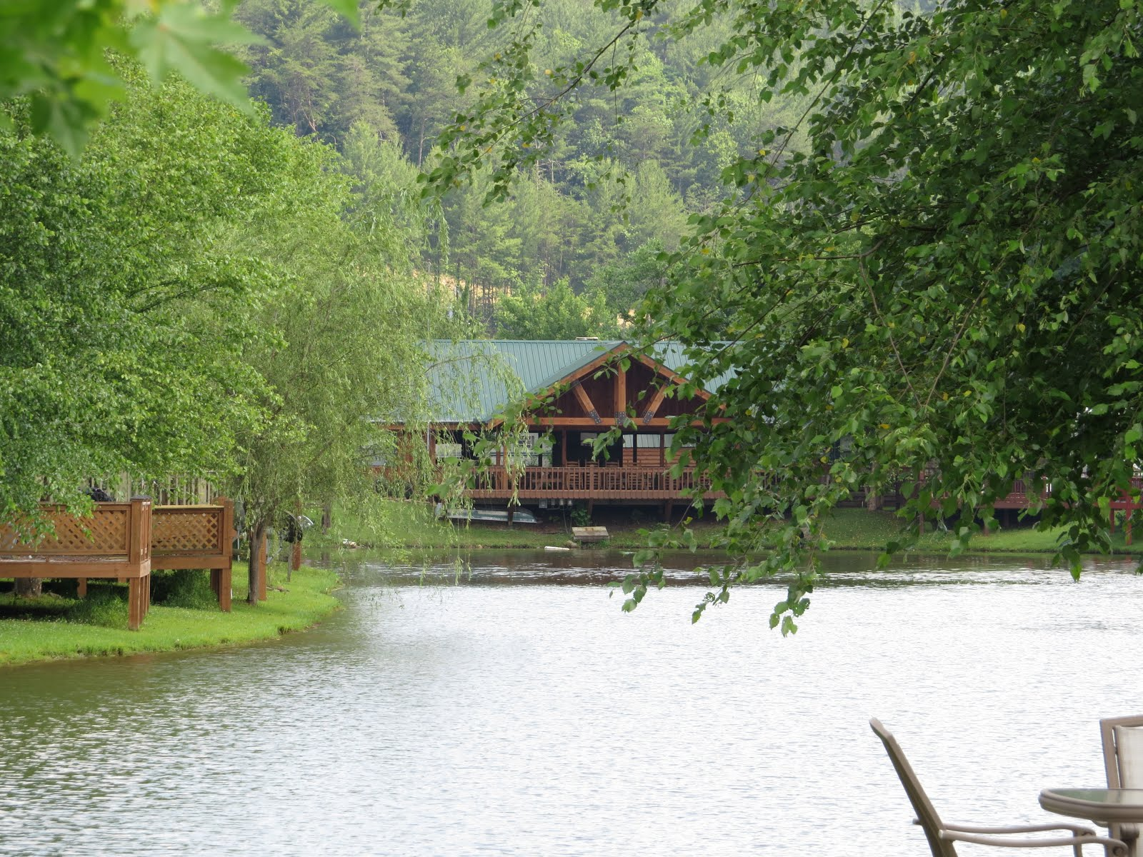 clubhouse overlooking small lake