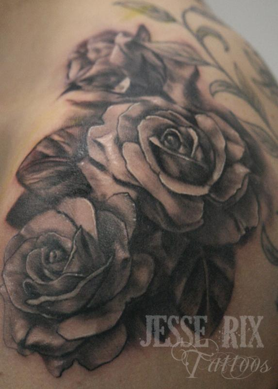 Tattoo aj mccarron for Black and gray rose tattoos