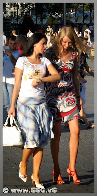 Girls in summer dress on the street