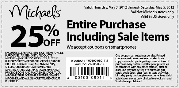 michaels coupons save 25 off may 3 may 5 2012