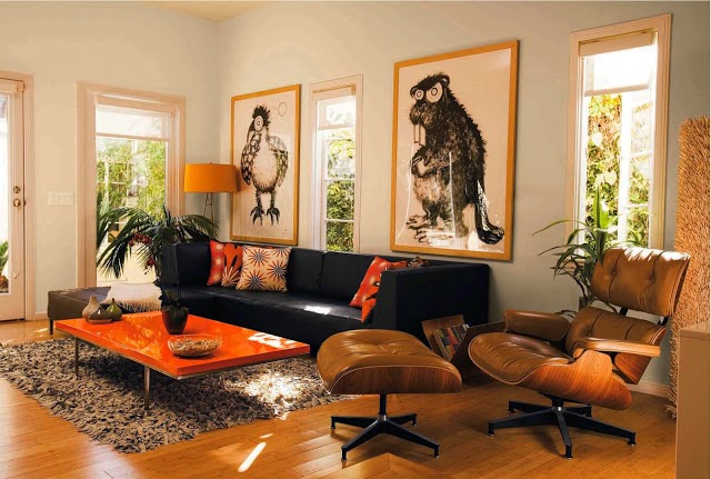 Sala De Estar En Naranja ~ Salas en color naranja y negro  Ideas de salas con estilo