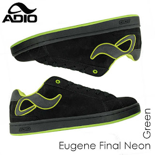 Adio Shoe: Eugene Final Shoe Black - Neon Green