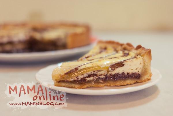 Пирог с грушами и шоколадом.