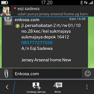 Konfirmasi alamat pengiriman jersey Eqi Sadewa oleh Enkosa sport jual jersey bola terpercaya dan terlengkap