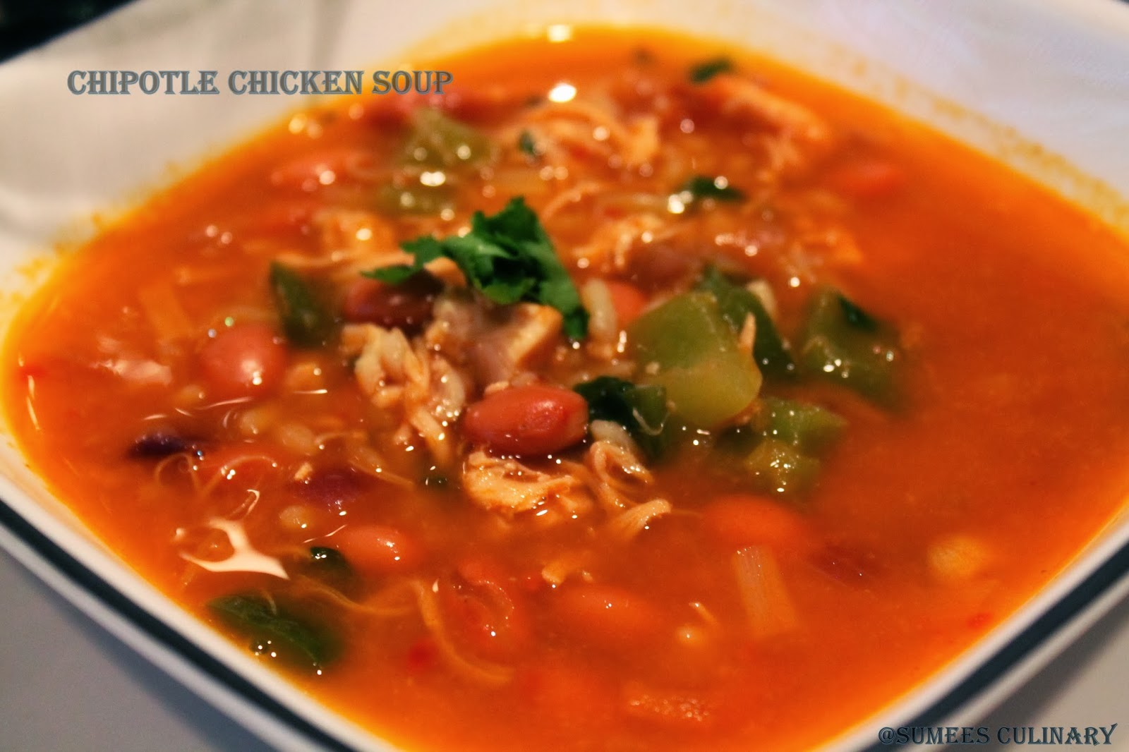 hearty chipotle chicken soup/ chipotle chicken chili